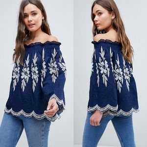 It Girl QED London Off Shoulder Embroidered Top